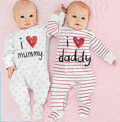 USA I Love Mummy And Daddy Newborn Baby Girls And Boys Romper Long Sleeve - Mummy Outfit