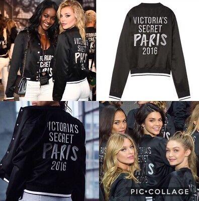 RARE Victoria's Secret Fashion Show Paris 2016 Satin Bomber Jacket Black S NIP