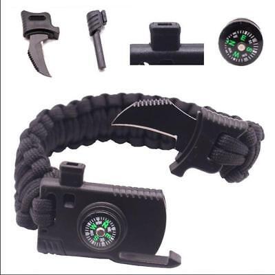 Survival Bracelet Paracord Knife Whistle Magnesium Fire Starter Compass Kits H01