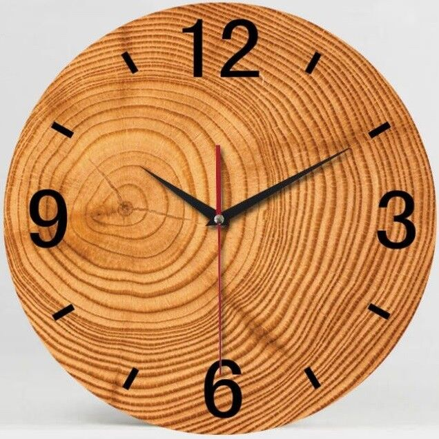 """13"""" Wood Grain Battery Operated Rustic Wall Clock for Home D"""