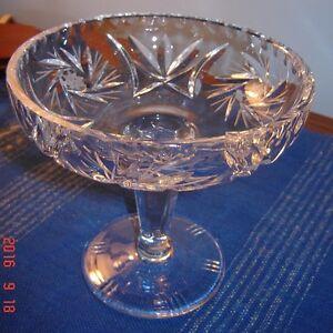 Vintage Crystal pedestal candy dish-Pinwheel pattern