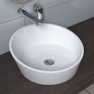 Solid Stone Sink : Countertop-Solid-Surface-Stone-Modern-Mounted-Bathroom-Sink-17-x-17-CW ...