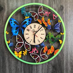 Butterfly Wall Clock Wall Art Silent Clock Wooden Clock Unique Modern CL-0254.