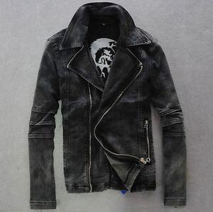 2016 Mens  Punk moto Denim Biker Jeans Jacket Rock denim zipperCoats