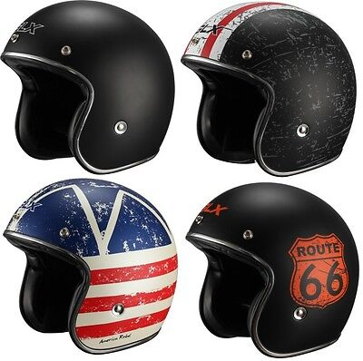 GLX Open Face Scooter Motorcycle Helmet 3/4 Style Retro Vintage DOT [Fiberglass] ()