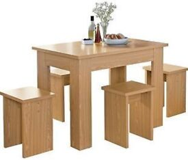 Lovely Legia Oak Space Saving Dining Table and 4 Stools from Argos good condition!