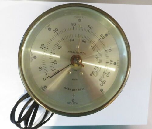 NAUTICAL BRASS WIND GUST MEASURE MAXIMUM BRAND WITH ORIGINAL PAPERS