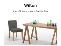 Made pair of Pre loved Wilton Dining Chairs in Graphite Grey