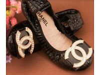 Black real leather quilted shinny zirconia ballerinas