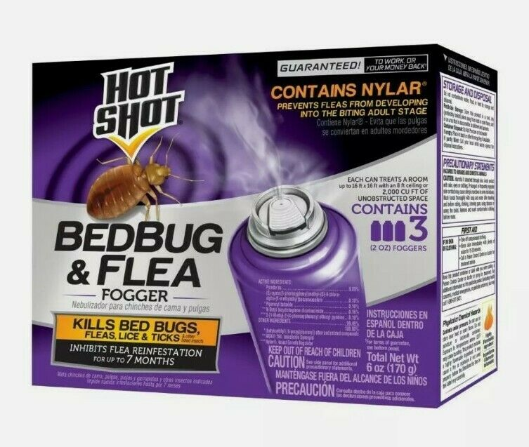 Hot Shot Bedbug and Flea Fogger 3 Pack of 2 oz Foggers