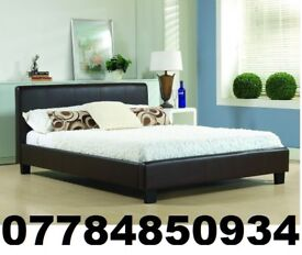 Double Leather Bed With Mattress frame only £99