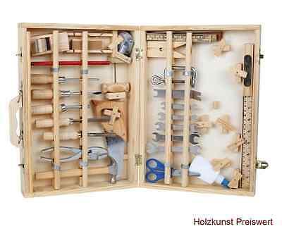 """48 tlg Werkzeugkoffer""""Deluxe"""" Kinder Werkzeug Holz Werkzeugkasten Werkbank NEU"""