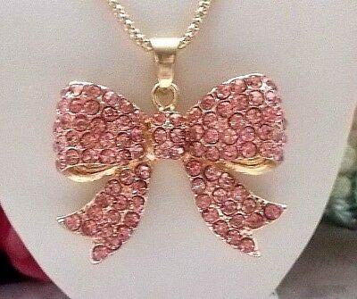 BETSEY JOHNSON BEAUTIFUL PINK CRYSTAL BOW TIE  PENDANT CHAIN NECKLACE