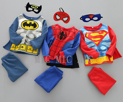 4tlg Spiderman Batman Superman Kleinkind Kinder Kostüm Fasching (Superman Kleinkind Kostüm)