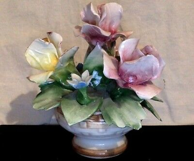 Vintage Capodimonte Figurine. Floral Bouquet In Basket. Pink & Yellow Roses.
