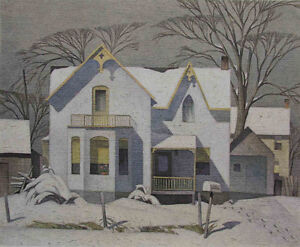 """A.J. Casson Limited Edition """"Village House, Winter"""""""