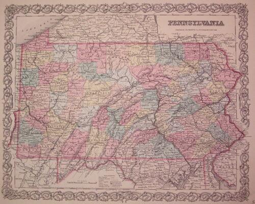 PENNSYLVANIA Map J.H. COLTON 1855
