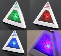 New Fashion Pyramid Temperature LED Colorful Change Backlit Mood Alarm Clock