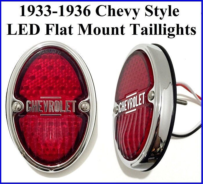 1933-1936 Chevy Style LED Taillights Flat Mount Tails Light Hot Rod Rat Rod