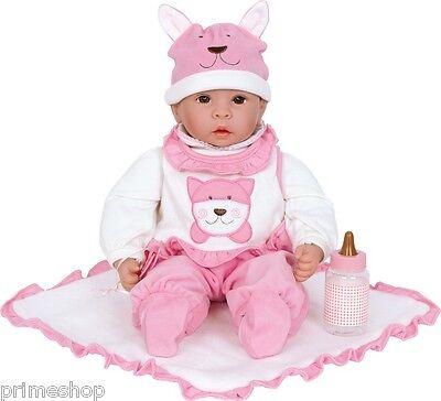 Baby Puppe Schnuller Schmusedecke und Fläschchen 43cm Neu