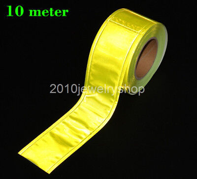 Yellow Gloss Reflective Sew On Tape Pvc Material 5cmx10meter 2x32.8ft
