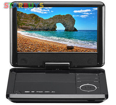 """9"""" Inch Portable DVD Player, Swivel Screen, In Car 12V Charger,Remote,USB,MP3,CD"""