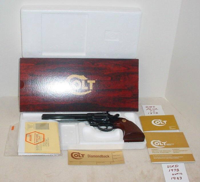 Colt Diamondback 6 & 8 inch- Box & Paperwork Foam insert  1973-Mid 1980