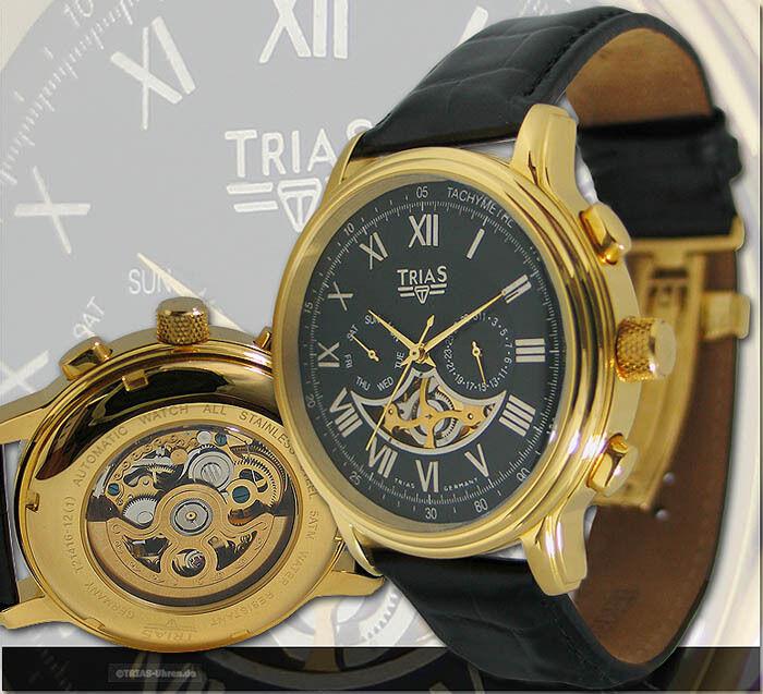 Trias Uhren Herrenuhr Automatikuhr teilskelettiert Datum Lederband Faltschliesse