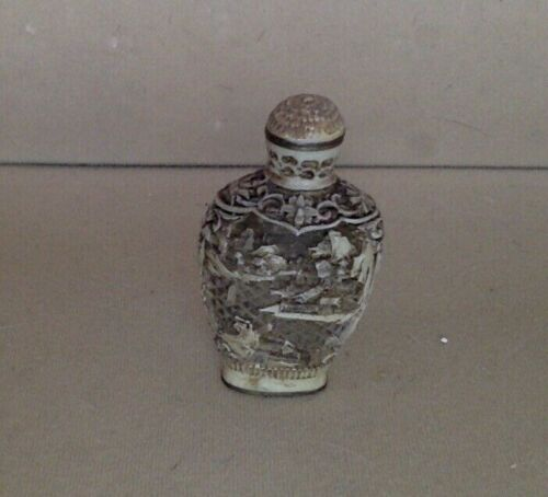 Antique Snuff Bottle. Carved Pictorial Soapstone and Brass.1800