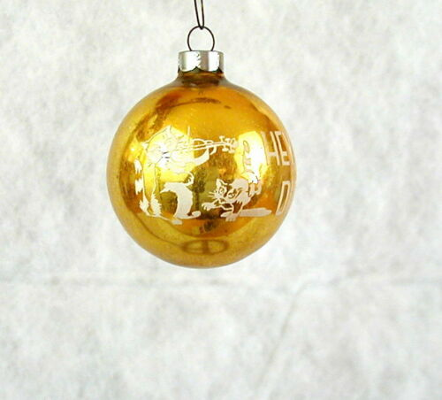 HEY DIDDLE DIDDLE COW GLASS STENCIL MADE IN USA VINTAGE CHRISTMAS TREE ORNAMENT