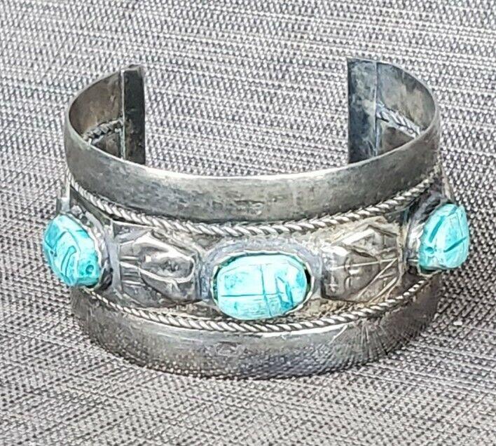 Vintage Egyptian Faience Turquoise Blue Scarab Large Pharaoh Cuff Bracelet