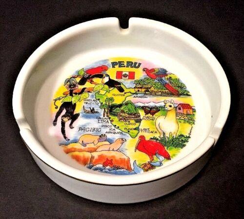 Souvenir PERU Ceramic Ashtray Full Color Graphics Maps White Porcelain Gold Rim