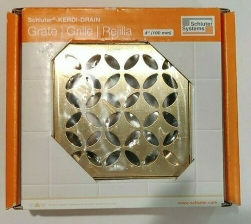 """Schluter Systems Kerdi-Drain Grate 4"""" Brushed classic gold floral  KDIF4GRKMBWD6"""
