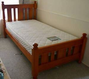TIMBER KING SINGLE BED WITH MATTRESS Winton Central West Area Preview