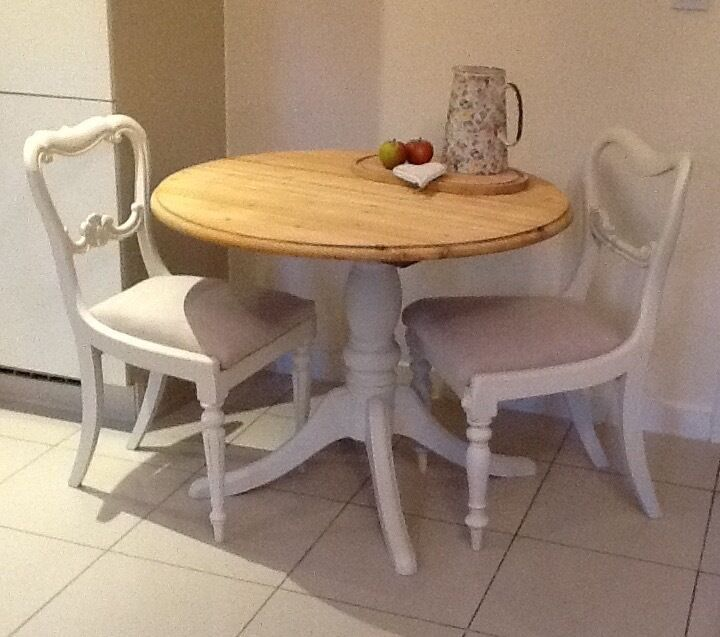 Small Round Dining Table Set: Small Round Pine Dining Table, Kitchen Table & 2 Chairs