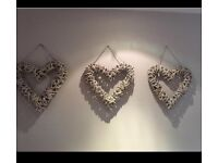 NEXT HOME LARGE GREY SHABBY CHIC GREY HEARTS (set of 3) RRP £78