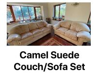 Camel suede sofa 3&2 seater set