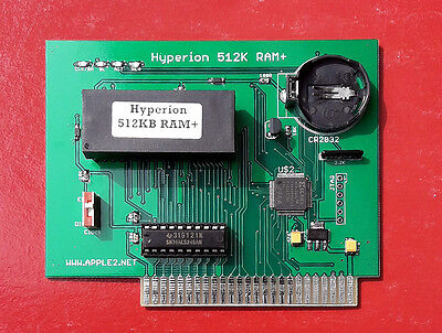 Hyperion 512K RAM+ (4x Saturn 128K and No Slot Clock card for APPLE II)