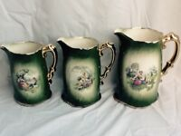 Staffordshire Pottery Jugs. 3 sizes all in excellent condition