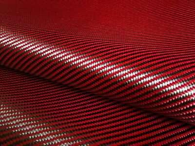 Carbon Fiber Red 70cm Wide Mixed Fabric Carbon Aramid Cloth 200gsm