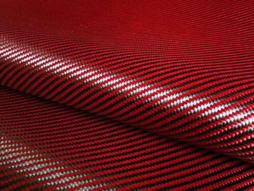 Carbon fiber & Red 70cm wide mixed fabric Carbon Aramid cloth 200gsm