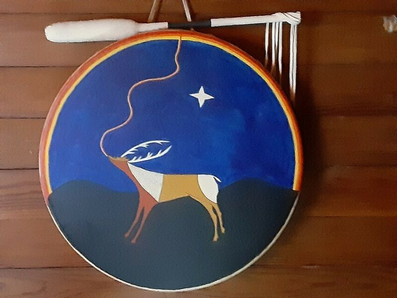 """17"""" Handmade & Hand Painted Native American Drum & Beater Signed """"MD"""" Quality!"""