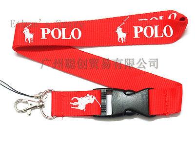New Ralph RL Lauren Polo Red White Lanyard Detachable Keychain US SELLER (Red Lanyards)