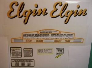 Elgin outboard decal set , for all water cooled models 1948-1956