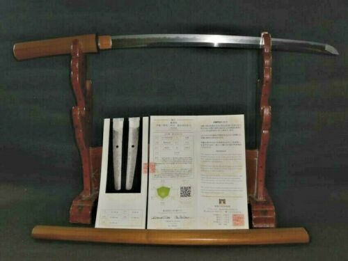LONG WAKIZASHI sword with JASMK Judgment paper Kaneshige Saku