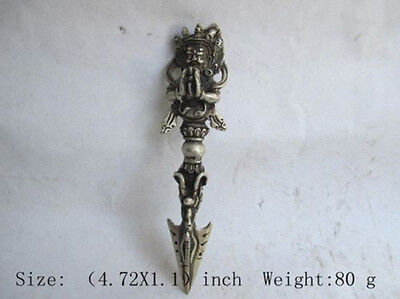 Chinese Old White Copper Collectable Hand Carved Buddha Exorcise Statue