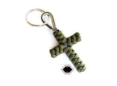 Cross keychain - 550 Paracord - OD Green - Handmade in USA - Paracord Cross