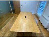Rectangular Oak Chrome Legged Designer Table by Mitab
