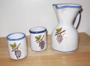 Ceramic Pitcher and 2 glasses