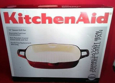 "NEW!! KitchenAid 12"" Enameled Cast Iron Square Grill Pan!!"